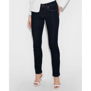 Express Skinny Mid Rise Dark Wash Blue Jeans